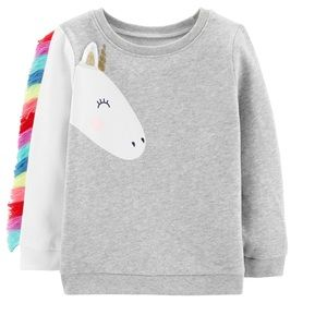 Carter's unicorn fringed sweatshirt